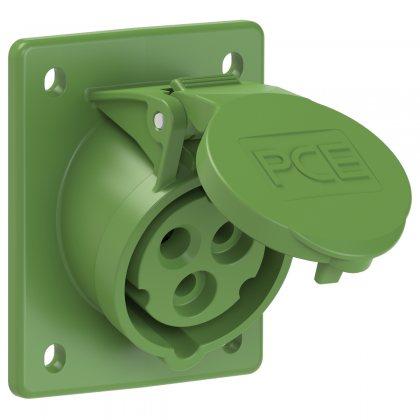 413-10 PCE Розетка встраиваемая наклонная 16А/500V/1P+N+E/IP44