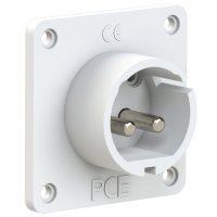 692-10v PCE Вилка встраиваемая 32A/24-42V/2P/IP44, никелированные контакты, фланец 70x70