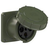 344-6.u PCE Розетка встраиваемая 125А/400V/3P+E/IP67, фланец 120x120, бронзово-зеленый