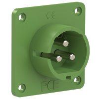 693-3v PCE Вилка встраиваемая 32A/24-42V/2P+E/IP44, никелированные контакты, фланец 70x70