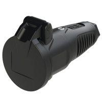 2522-ss PCE Розетка кабельная 16A/250V/2P+E/IP54 с крышкой, корпус черный, крышка и маркер черный