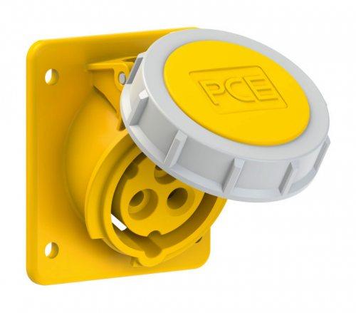 4132-4f87 PCE Розетка встраиваемая наклонная 16А/110V/1P+N+E/IP67, фланец 75x85