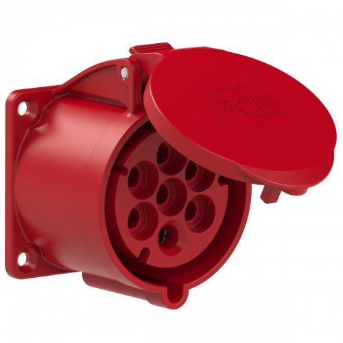 327-6v PCE Розетка встраиваемая 32А/400V/6P+E/IP44, фланец 70x70, никелированные контакты