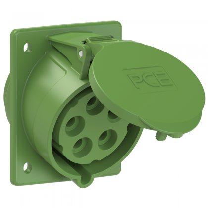 425-2 PCE Розетка встраиваемая наклонная 32А/50-500V/3P+N+E/IP44