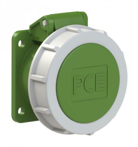 3922-2f9v PCE Розетка встраиваемая 32A/24-42V/2P/IP67, безвинтовое подключение, фланец 54x60