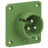693-2v PCE Вилка встраиваемая 32A/24-42V/2P+E/IP44, никелированные контакты, фланец 70x70