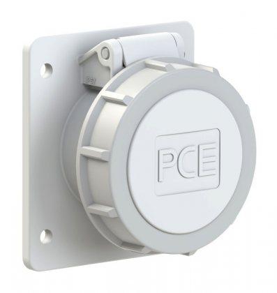 3822-10f87v PCE Розетка встраиваемая 16A/24-42V/2P/IP67, фланец 75x85, никелированные контакты
