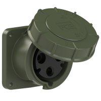 333-6.u PCE Розетка встраиваемая 63А/230V/1P+N+E/IP67, фланец 100x100, бронзово-зеленый