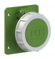 3822-3f87v PCE Розетка встраиваемая 16A/24-42V/2P/IP67, фланец 75x85, никелированные контакты