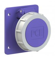 3732f87v PCE Розетка встраиваемая 32А/24V/2P+E/IP67, фланец 75х85, никелированные контакты