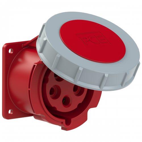 3252-6tt PCE Розетка встраиваемая 32А/400V/3P+N+E/IP67, безвинтовое подключение, фланец 75x75