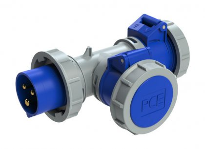 94326103 PCE T-коннектор 2-х розеточный с вводной вилкой 16A/230V/2P+E/IP67