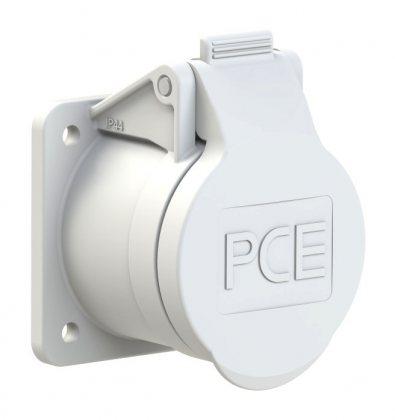 393-12f4v PCE Розетка встраиваемая 32A/42V/2P+E/IP44, фланец 55х55, никелированные контакты