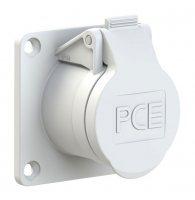 393-12v PCE Розетка встраиваемая 32A/42V/2P+E/IP44,фланец 70х70, никелированные контакты