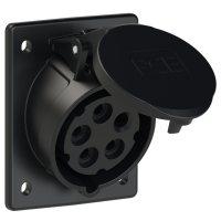 415-6x PCE Розетка встраиваемая наклонная 16А/400V/3P+N+E/IP44, черная, фланец 80x97
