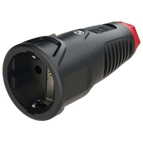 2520-sr PCE Розетка каб 16A/250V/2P+E/IP20 корпус черный, маркер красный