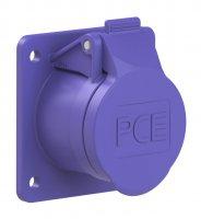 372f8v PCE Розетка встраиваемая 32А/24V/2P/IP44, фланец 60х70, никелированные контакты