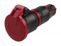 25712-src PCE Розетка кабельная 16A/250V/2P+E/IP54 с крышкой, корпус черный, крышка и маркер красный, шторки