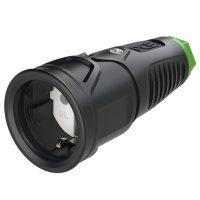 2510-shuw PCE Розетка каб 16A/250V/2P+E/IP20 корпус черный, маркер зеленый