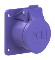 362f8v PCE Розетка встраиваемая 16А/24V/2P/IP44, фланец 60х70, никелированные контакты