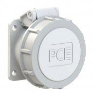 3922-12f9v PCE Розетка встраиваемая 32A/42V/2P/IP67, безвинтовое подключение, фланец 54x60
