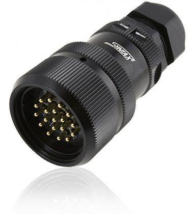 SSX19MVDGCMQN SSX 19 pin вилка кабельная, покрытие контактов золотом, под обжим  (каб. 15-23мм) M40