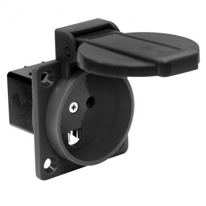 1030-0s PCE Розетка встраиваемая 16А/250V/2P+E/IP54 черная стандарт Дания/Англия