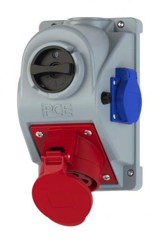 96062551 PCE Розетка настенная с выключателем Combopol 32А/400V/3P+N+E/IP44+1Schuko с предохранителем