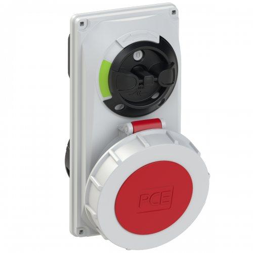 60252-6 PCE Розетка встраиваемая 32А/400V/3P+N+E/IP67, с выключателем и блокировкой