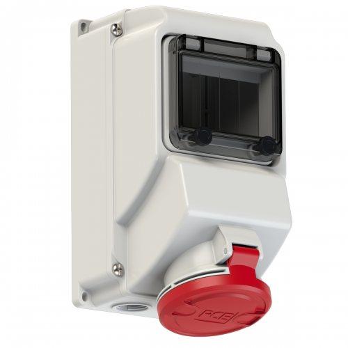 75253-6 PCE Розетка настенная 32А/400V/3P+N+E/IP44 никелированные контакты, окно 5 модулей, DIN-рейка