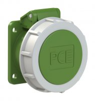 3832-4f9v PCE Розетка встраиваемая 16A/24-42V/2P+E/IP67, безвинтовое подключение, фланец 54x60