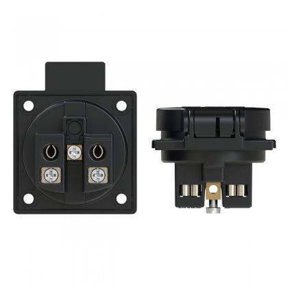1050-0ss PCE Розетка встраиваемая 16A/250V/2P+E/IP54, фланец 50x50, подключение сбоку, черная