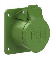 383-3f8v PCE Розетка встраиваемая 16А/24-42V/2P+E/IP44, фланец 60х70, никелированные контакты