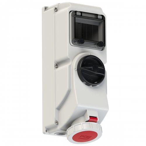 76242-6 PCE Розетка настенная 32А/400V/3P+E/IP67, под автоматический выключатель, с окном на 5 модулей и DIN-рейкой, для установки модульных устройств защиты