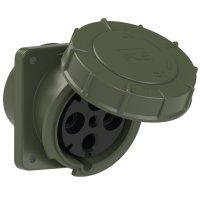 444-6.u PCE Розетка встраиваемая наклонная 125А/400V/3P+E/IP67, фланец 120x130, бронзово-зелёный