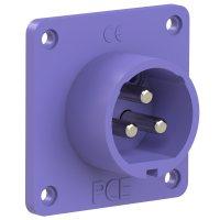 673v PCE Вилка встраиваемая 32A/24V/2P+E/IP44, никелированные контакты, фланец 70x70