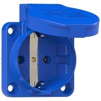 109-0bw PCE Розетка встраиваемая 16А/250V/2P+E/IP54, безвинтовое подключение сзади, с дополнительным контуром герметичности, фланец 50x50 мм, синяя