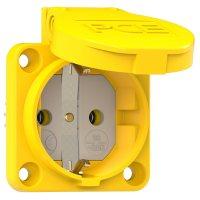 105-0e PCE Розетка встр 16А/250V/2P+E/IP54 50x50 подкл. сзади жёлтая