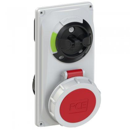 60142-6 PCE Розетка встраиваем 16А/400V/3P+E/IP67, с выключателем и блокировкой