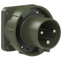 633-6.u PCE Вилка встраиваемая 63А/230V/2P+E/IP67, фланец 100x100, бронзово-зеленый