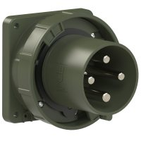 644-6.u PCE Вилка встраиваемая 125А/400V/3P+E/IP67, фланец 120x120, бронзово-зеленый