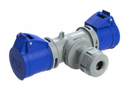 94325102 PCE T-коннектор 2-х розеточный с кабельным вводом 16А 3Р IP44