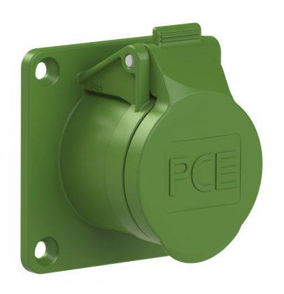 382-3v PCE Розетка встраиваемая 16А/24-42V/2P/IP44,фланец 70х70, никелированные контакты