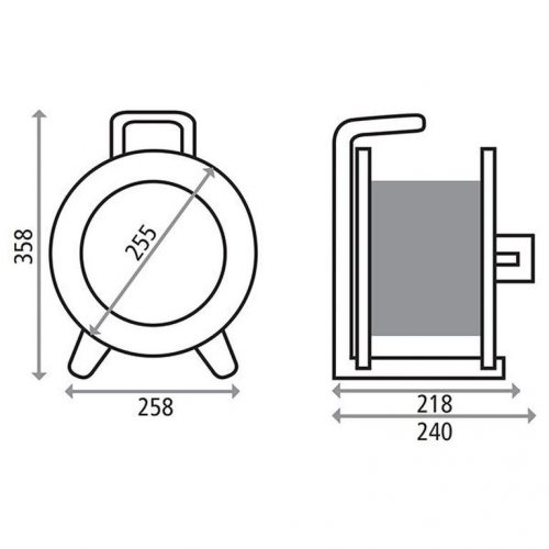 K1S25PT HEDI Удлинитель на катушке из металла D=255мм/4GS/IP20/25м H05VV-F3G1,5/термозащита