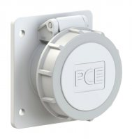 3932-12f87v PCE Розетка встраиваемая 32А/42V/2P+E/IP67, фланец 75х85, никелированные контакты
