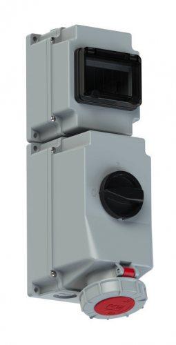 76342-6 PCE Розетка настенная 63А/400V/3P+E/IP67, под автоматический выключатель, с окном на 6 модулей и DIN-рейкой, для установки модульных устройств защиты