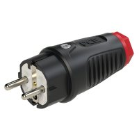 0521-sr PCE Вилка кабельная 16А/250V/2P+E/IP54 корпус черный, маркер красный