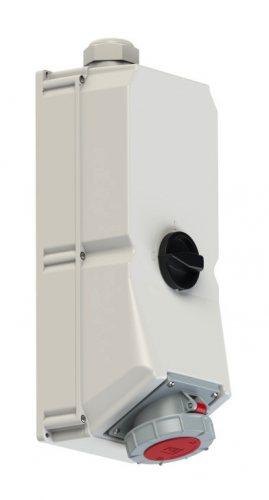9755099 PCE Розетка настенная 125А/400V/3P+E/IP67, с выключателем и блокировкой