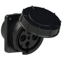 444-6xs PCE Розетка встраиваемая наклонная 125А/400V/3P+E/IP67, черная, фланец 120x130