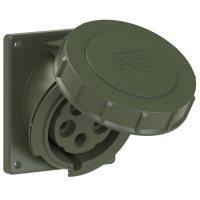 4252-6.u PCE Розетка встраиваемая наклонная 32А/400V/3P+N+E/IP67, фланец 92x100, бронзово-зелёный